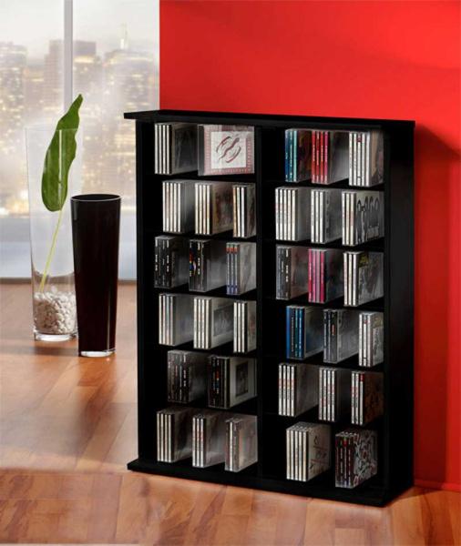 cd dvd regal ronul schwarz 300 cds ohne glast r. Black Bedroom Furniture Sets. Home Design Ideas