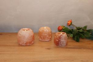 Salzkristall Teelichthalter Rock groß