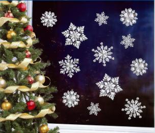 3D-Fensterstickerset Schneesterne