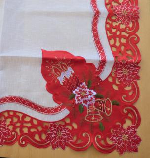 Weihnachtstischdecke mit Kerzen und Glocken in rot 91 x 91
