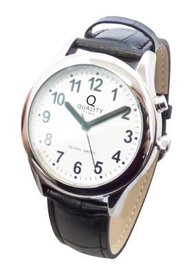 Sprechende Armbanduhr mit Lederband für Herren