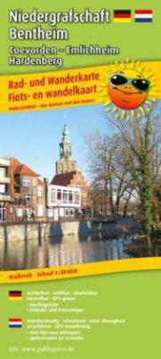 PublicPress Rad- und Wanderkarte Niedergrafschaft Bad Bentheim, Coevorden - Emlichheim - Hardenberg