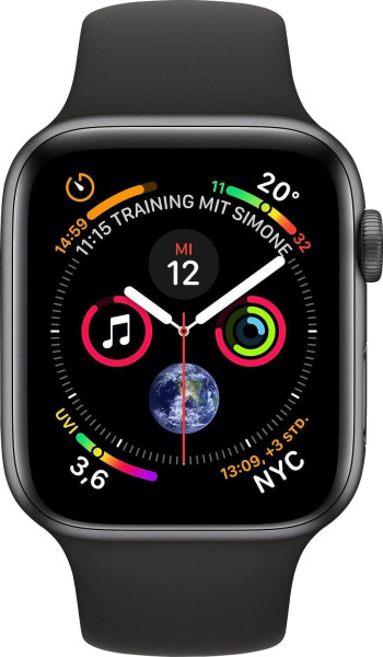 "APPLE Smart Watch ""Watch Series 4"" (GPS + Cellular, 40 mm Aluminiumgehäuse, Space Grau/schwarz)"