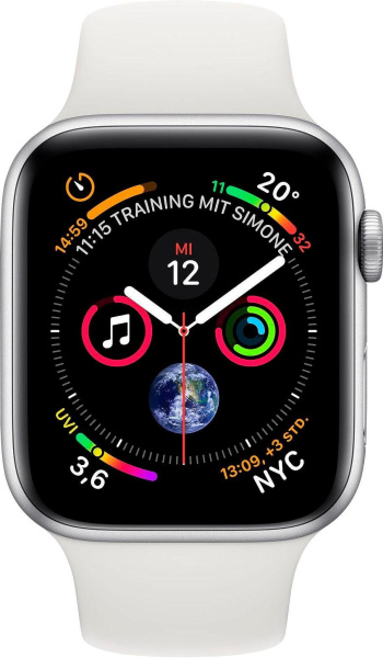 "APPLE Smart Watch ""Watch Series 4"" (GPS + Cellular, 40 mm Aluminiumgehäuse, Silber/Weiß)"
