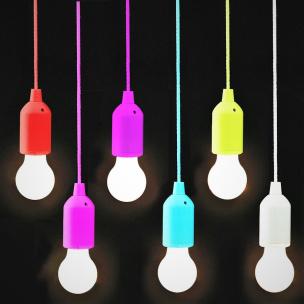 LED-Lampe mit Schnurschalter klein /farbige Fassung & Schnur