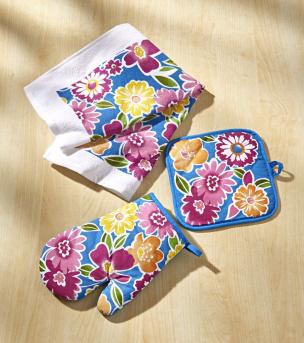 Küchen-Textilset 3tlg. mit Blumendekor