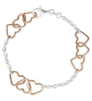 Armband Herzen Rosegold aus Silber Si925