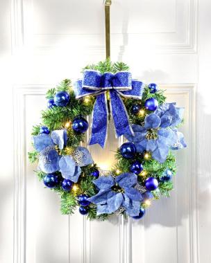 Türkranz mit LEDs blau