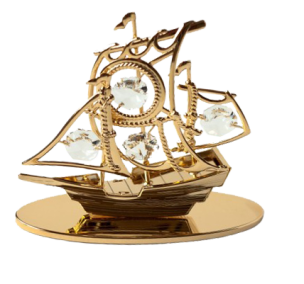 Goldfigur Schiff mit Swarovski® Kristallen