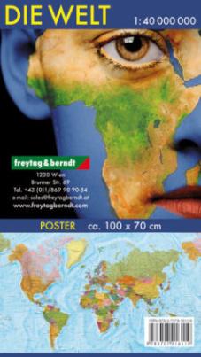 Freytag & Berndt Poster, Großformat Wandkarte: Die Welt, deutsch, 1:40.000.000, Plano in Rolle