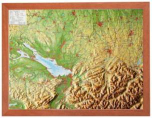 Region Allgäu Bodensee, Reliefkarte, Klein, mit Holzrahmen