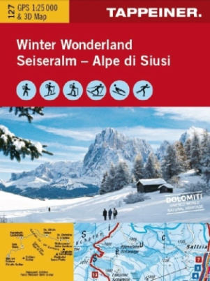 Winter Wonderland Seiseralm, Winterkarte. Winter Wonderland Alpe di Siusi