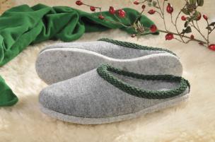 Walker-Pantoffeln mit Filz-Sohle (grau) Gr.38/39