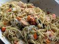 Spaghetti mit Scampi und Gemüsemix