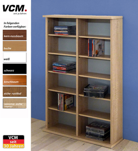 cd dvd regal ronul eiche rustikal 300 cds ohne glast r. Black Bedroom Furniture Sets. Home Design Ideas